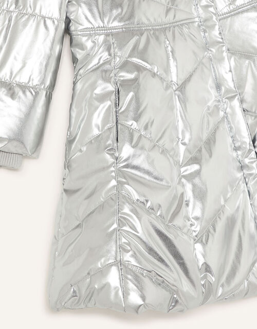 Metallic Padded and Hooded Coat, Silver (SILVER), large