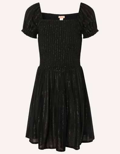 Sparkle Puff Sleeve Dress  Black, Black (BLACK), large