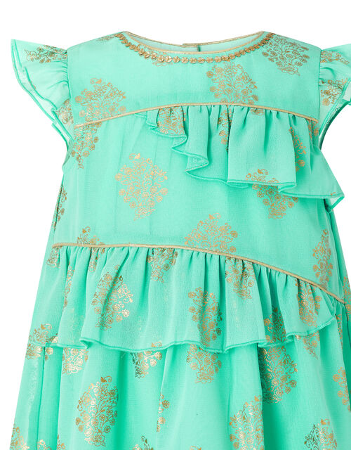 Baby Tansy Metallic Print Dress in Recycled Fabric, Blue (AQUA), large