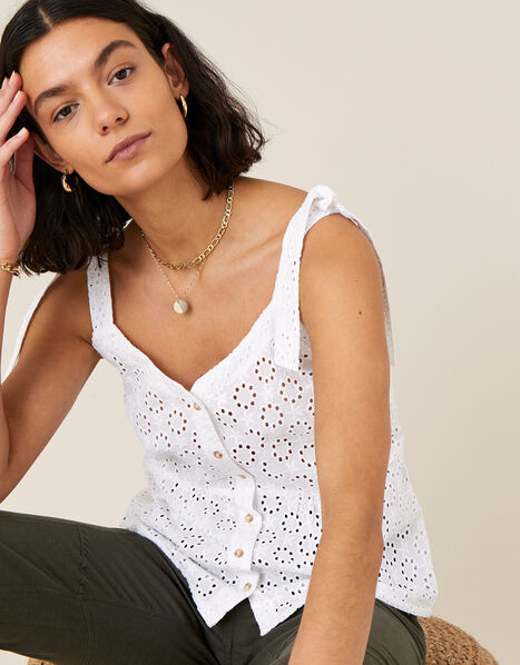 Broderie Cami Top White, White (WHITE), large