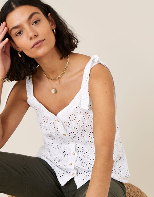 Broderie Cami Top, White (WHITE), large