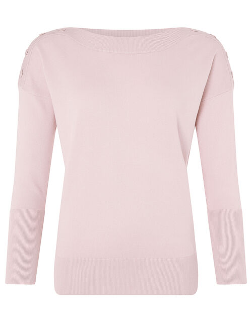 Patsy Popper Knit Jumper with LENZING™ ECOVERO™, Pink (SOFT PINK), large