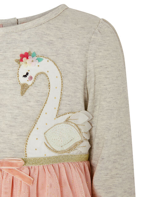 Baby Swan Ruffle Disco Dress, Grey (GREY), large
