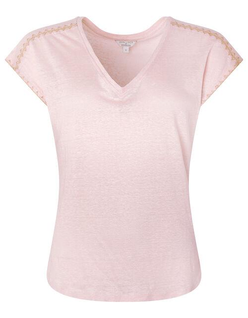 Liza Metallic Stitching T-shirt in Pure Linen, Pink (BLUSH), large