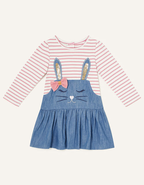 Baby Sequin Bunny Chambray Dress, Pink (PINK), large