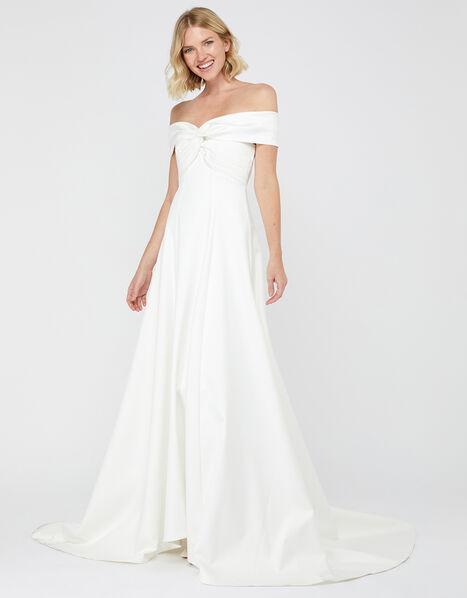 Hannah Bardot Satin Bridal Dress Ivory, Ivory (IVORY), large