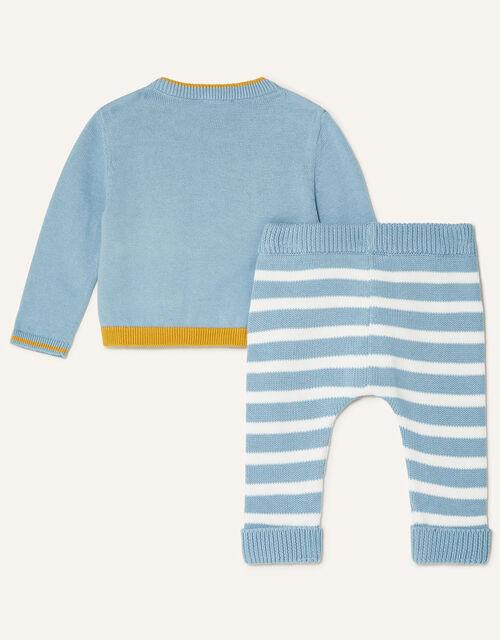Newborn Giraffe Knit Set, Blue (BLUE), large