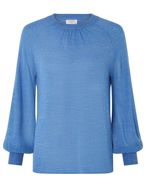 Misty Blouson Jumper in Linen Blend, Blue (BLUE), large