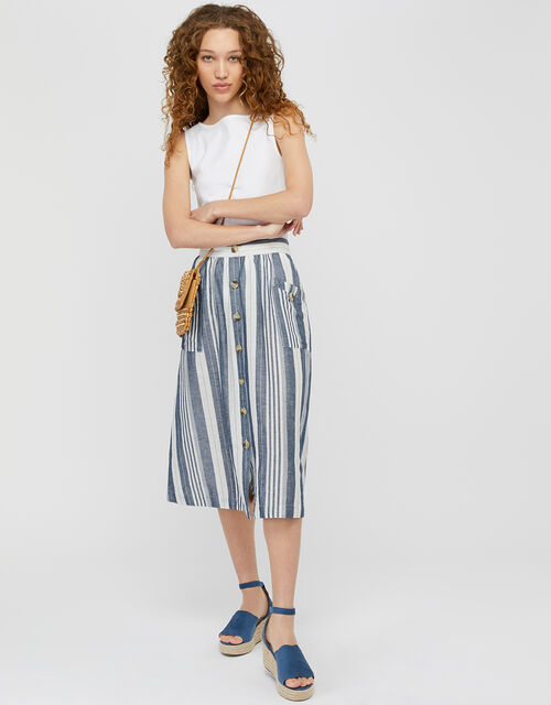 Tonya Stripe Skirt in Linen and Organic Cotton, Blue (BLUE), large