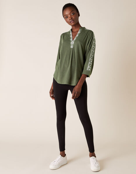 Edie Embroidered Top Green, Green (KHAKI), large