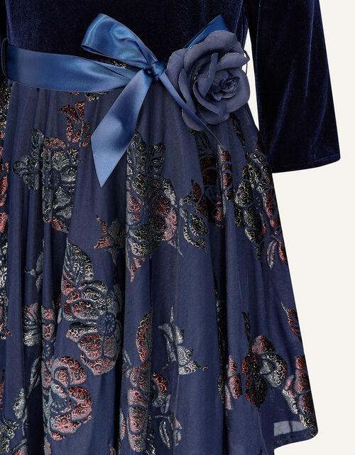 Velvet Devore Dress , Blue (NAVY), large