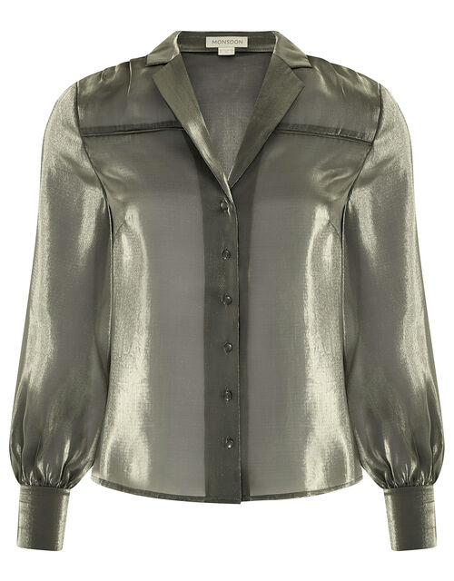 Blair Shimmer Sheer Blouse, Gold, large