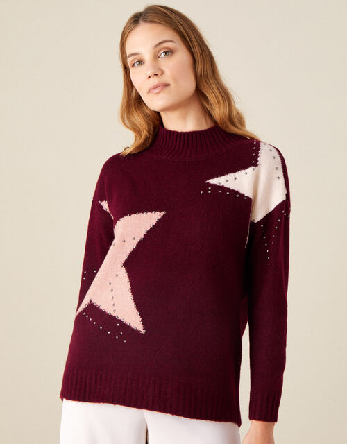 Stacy Star Knit Jumper, Red (BERRY), large