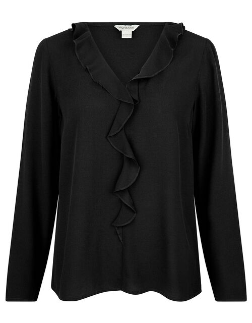 Ruffle Long Sleeve Blouse with LENZING™ ECOVERO™, Black (BLACK), large