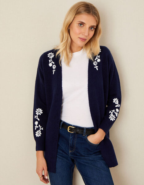 Pierre Floral Embroidered Cardigan Blue, Blue (NAVY), large