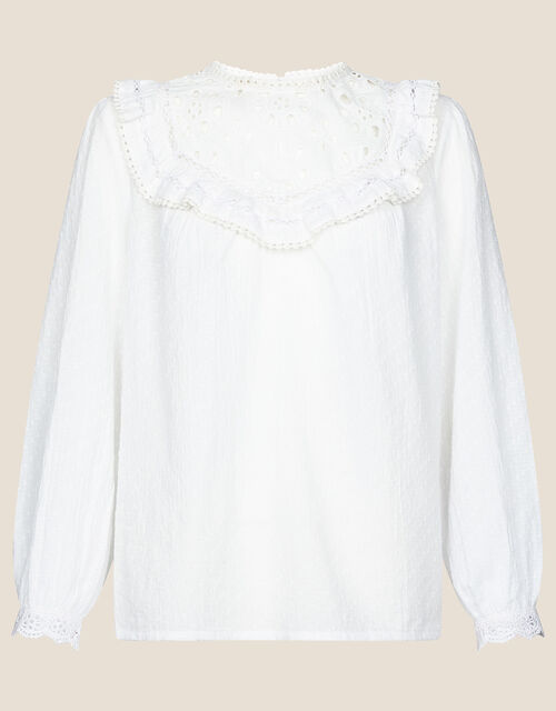Frill Bib Blouse in Pure Cotton, Ivory (IVORY), large
