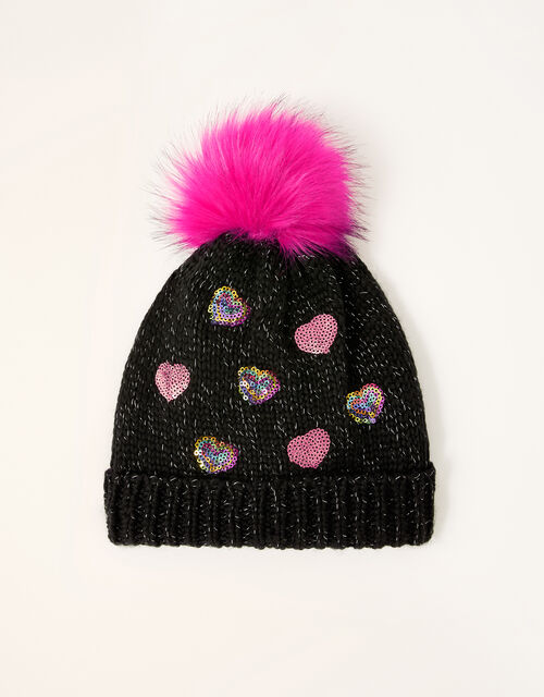 Stacey Sequin Heart Pom-Pom Hat, Multi (MULTI), large