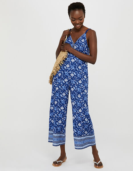 Billie Printed Jumpsuit in LENZING™ ECOVERO™  Blue, Blue (BLUE), large