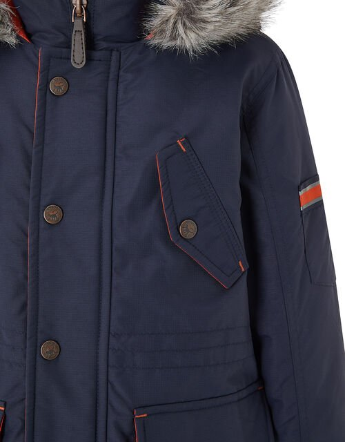 Boys Parka Coat with Hood, Blue (NAVY), large