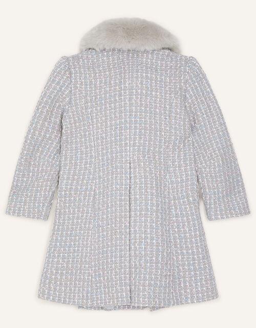 Tweed Faux Fur Collar Coat, Grey (GREY), large