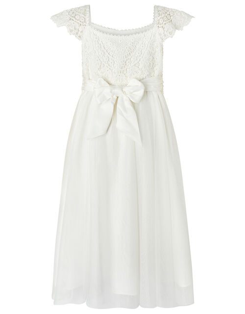 Estella Crochet Bodice Occasion Dress, Ivory (IVORY), large