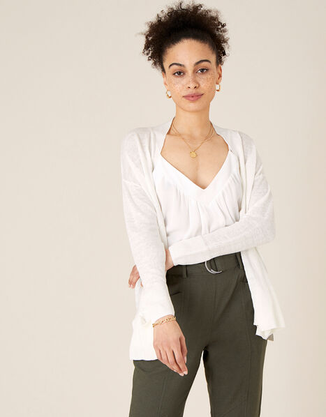 Lily Pocket Cardigan in Pure Linen Ivory, Ivory (IVORY), large