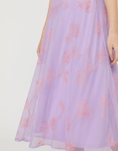 Gabriella Embroidered Floral Midi Dress, Purple (PURPLE), large