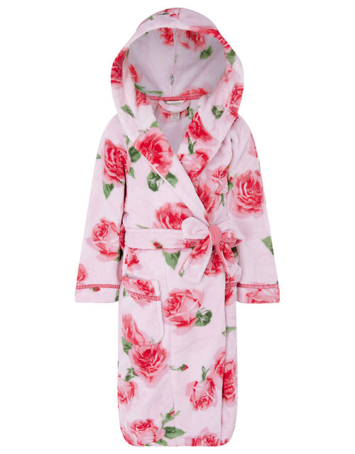 Chunky Rose Print Robe with Recycled Polyester, Pink (PINK), large