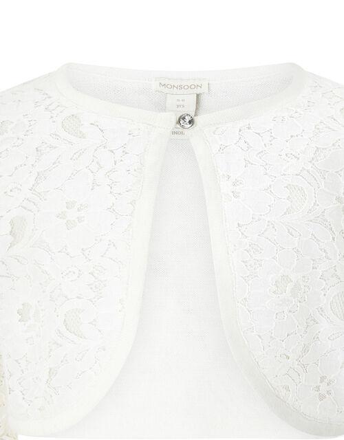 Eliona Cropped Lace Cardigan, White (WHITE), large