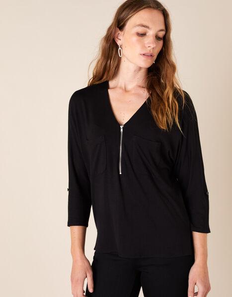 Zip Detail Jersey Shirt Black, Black (BLACK), large