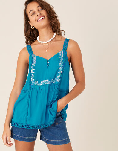 Embroidered Lace Cami Teal, Teal (TEAL), large