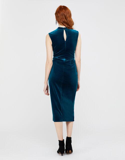 Shelby Twist Velvet Shift Dress, Teal, large