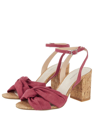 Tandy Twist Heeled Sandals Red, Red (BERRY), large