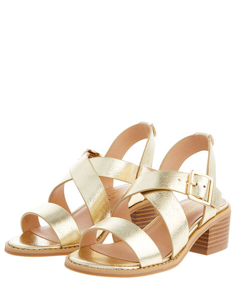 Metallic Strap Heeled Sandals Gold, Gold (GOLD), large