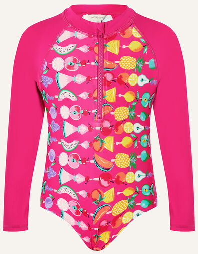 Fruit Print Sunsafe Swimsuit Pink, Pink (PINK), large