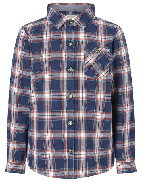 Check Shirt in Pure Cotton, Blue (NAVY), large