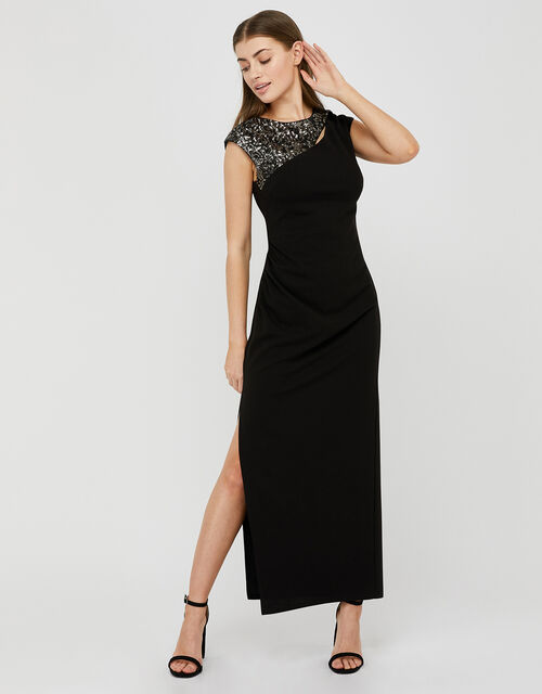 Ophelia Sequin Insert Stretch Maxi Dress, Black (BLACK), large