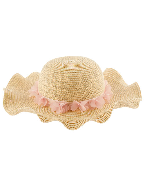 Baby Macaroon Butterfly Floppy Hat , Natural (NATURAL), large