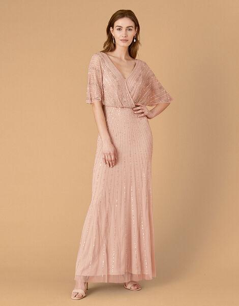 Alex Embellished Wrap Maxi Dress  Pink, Pink (PINK), large