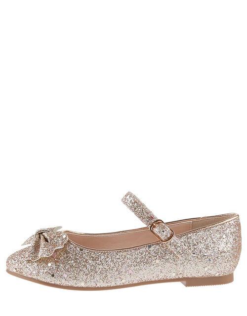 Glitter Scallop Bow Ballerina Flats, Gold (ROSE GOLD), large