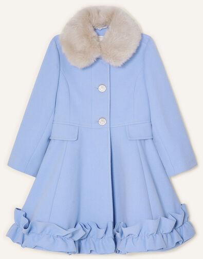 Ruffle Hem Fur Collar Coat  Blue, Blue (PALE BLUE), large