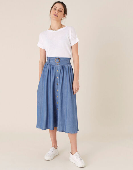 Belted Midi Skirt in LENZING™ TENCEL™ Blue, Blue (DENIM BLUE), large