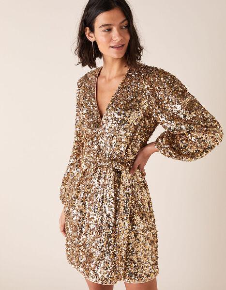 Jennifer Sequin Stretch Wrap Dress Gold, Gold (GOLD), large