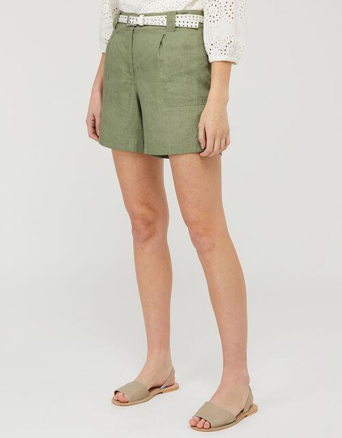 Lottie Shorts in Pure Linen, Green (KHAKI), large