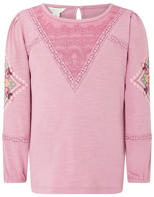 Crochet Insert Long Sleeve Top in Organic Cotton, Pink (DUSKY PINK), large
