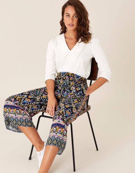 Contrast Print Culottes in LENZING™ ECOVERO™ Multi, Multi (MULTI), large