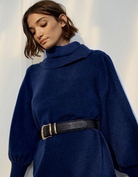 Roll Neck Knit Dress Blue, Blue (DARK BLUE), large