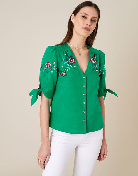 Floral Embroidered Top in Linen Blend Green, Green (GREEN), large