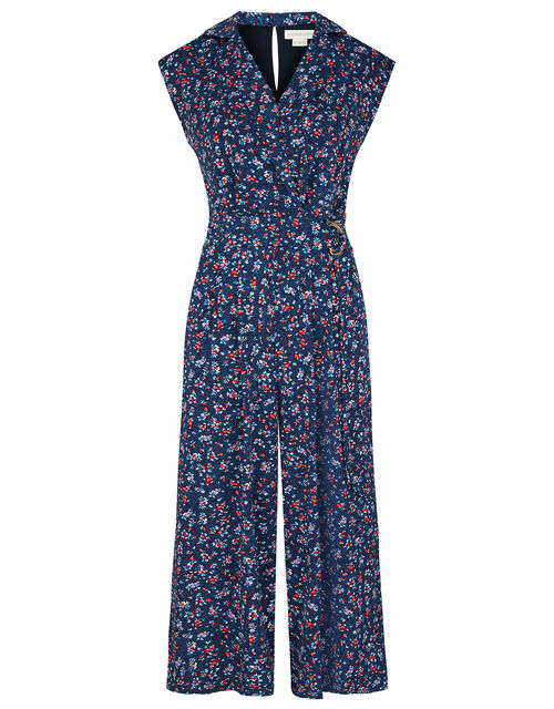 Dione Ditsy Floral Cropped Jumpsuit, Blue (NAVY), large