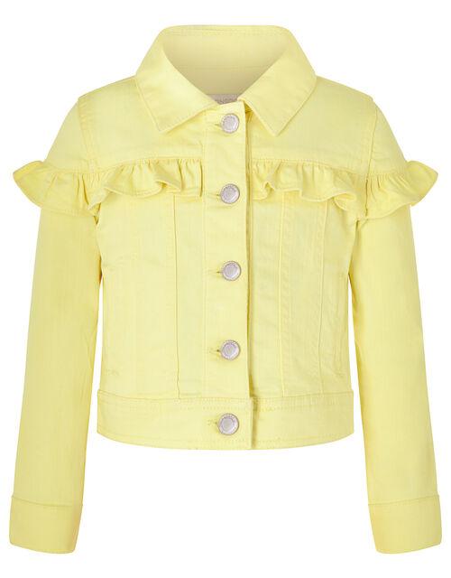 Layla Denim Jacket with Frills, Yellow (LEMON), large